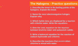 The Halogens - Practice questions