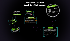 Personal Narratives - Week One Mini Lessons