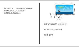 DOCENCIA COMPARTIDA, PAREJA PEDAGÓGICA, CAMBIOS METODOLÓGICOS...