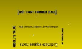 Unit 1 Part 1 Number Sense