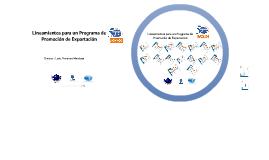 Lineamientos para un Programa de Promoción de Exportación