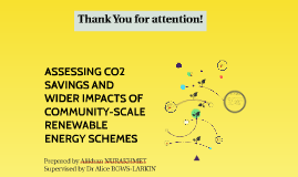 ASSESSING CO2 SAVINGS AND WIDER IMPACTS OF COMMUNITY-SCALE RENEWABLE ENERGY SCHEMES