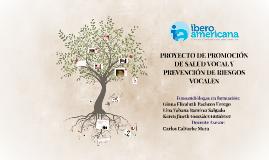 PROYECTO DE PROMOCIÓN DE SALUD VOCAL Y PREVENCIÓN DE RIESGOS
