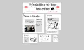 Why Tests Should Not Be Used to Measure Teacher Performance