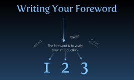 Writing Your Foreword
