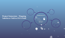 Project Immersion - Mapping Salesforce Field to INFA Field