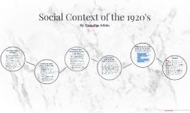 Social Context of the 1920's