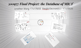 300977 Final Project: the Database of MICT