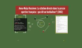 Anna-Maija Hassinen: La citation directe dans la presse spor
