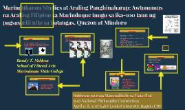 Marindukanon Studies at Araling Panghinaharap: Awtonomus na