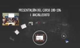 PRESENTACIÓN DEL CURSO 2015-2016