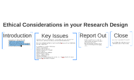 Ethical Considerations in your Research Design