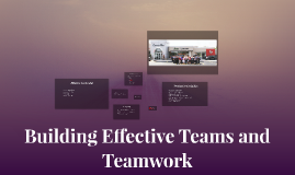 Building Effective Teams and Teamwork