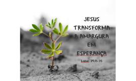JESUS TRANSFORMA A AMARGURA EM ESPERANÇA