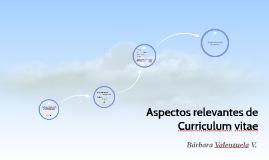 Aspectos relevantes de Curriculum vitae