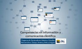 Competencias en información y comunicación científica (Doctorado en Historia y Estudios Humanísticos: Europa, América, Arte y Lenguas)