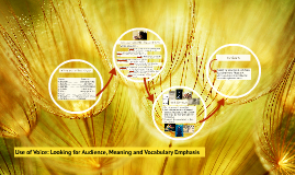 Use of Voice: Looking for Audience, Meaning and Vocabulary E