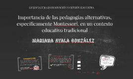 Importancia de las pedagogías alternativas, específicamente
