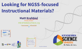Looking for NGSS Instructional materials?