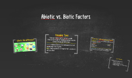 Abiotic vs. Biotic Factors
