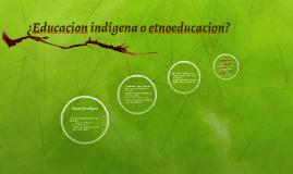 ¿Educacion indígena o etnoeducacion?