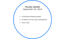Faculty Update September 23, 2014