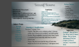 beowulf resume Writing beowulf's résum choose a functional résumé template and create one for beowulf follow the steps to create the basic elements of beowulf's resume.