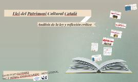 Llei del Patrimoni Cultural Català