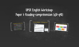 UPSR English Workshop: Section A (q31-q40) & Section B