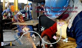 Informe de gestión del plan de Bienestar y Desarrollo Humano