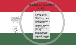 Autonomous Regulatory Organs
