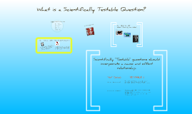 What is a Scientifically Testable Question?