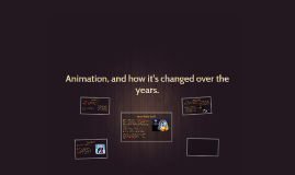 Animation, and how it's changed over the years.