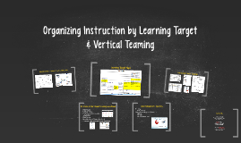 Organizing Instruction by Learning Target &
