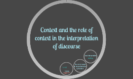 Context and the role of context in the interpretation of dis