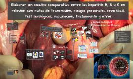 Copy of Elaborar un cuadro comparativo entre las hepatitis A, B y C en relación con rutas de transmisión, riesgos personales, severidad, test serológicos, vacunación, tratamiento y otros.