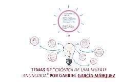 """TEMAS DE """"CRÓNICA DE UNA MUERTE ANUNCIADA"""" POR GABRIEL GARCÍ"""