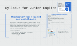 Syllabus for Junior English