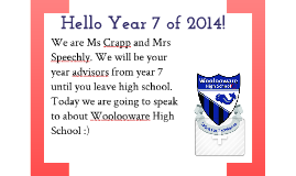 Introduction to Woolooware High for Year 7 2013
