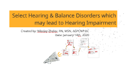 Select Hearing & Balance Disorders which may lead to Hearing Impairment 043019 NAZ