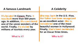 WRITING: A famous Landmark / A Celebrity (I04)