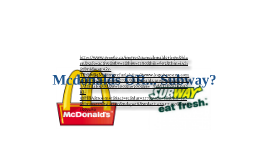Mcdonalds Vs Subway