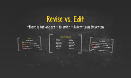 Revise vs. Edit