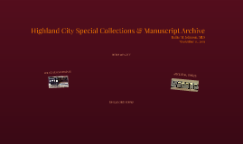 Highland City Special Collections & Manuscript Archive