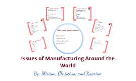 Issues of manufacturing around the World