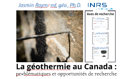 La géothermie au Canada : problématiques et opportunités de recherche