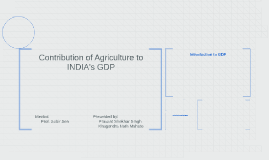 Contribution of Agriculture to INDIA's GDP