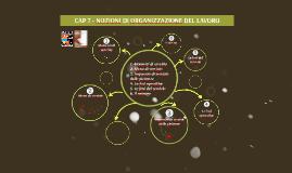 CAP. 7 NOZIONI DI ORGANIZZAZIONE DEL LAVORO