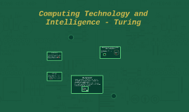 Computing Technology and Intelligence - Turing