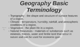 Geography Basic Terminology